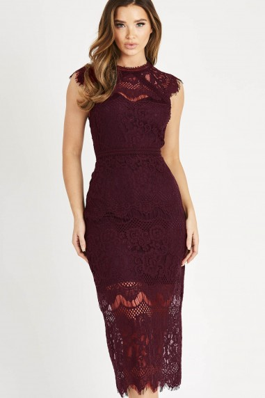 TFNC Ysanne Burgundy Midi Dress