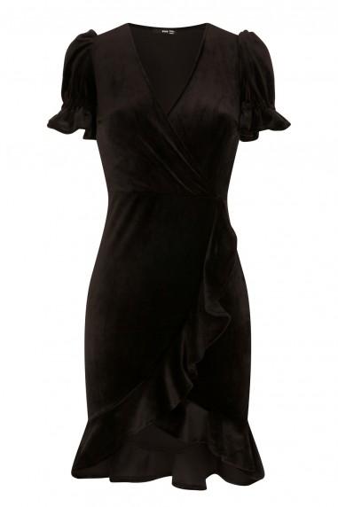 TFNC Edwina Crushed Velvet Black Midi Dress