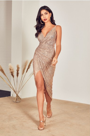 TFNC Sabbia Rose Gold Sequin Maxi Dress