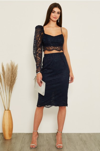 TFNC Rika Lace Navy Skirt