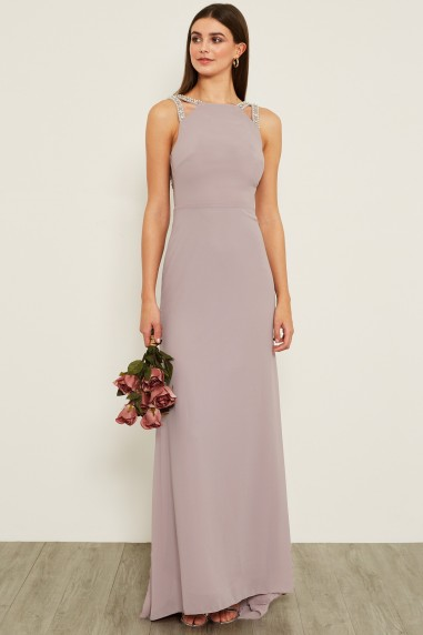 TFNC Riva Grey Maxi Embellished Dress