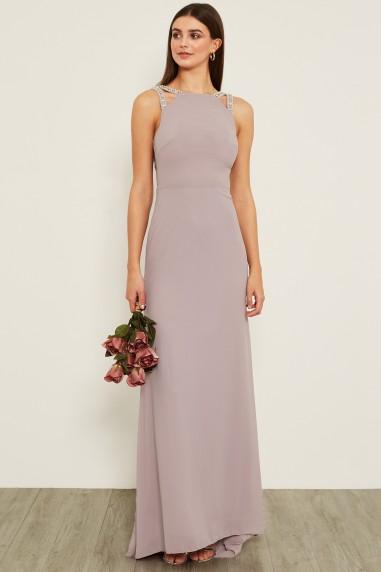 TFNC Riva Grey Maxi Embellished Dress