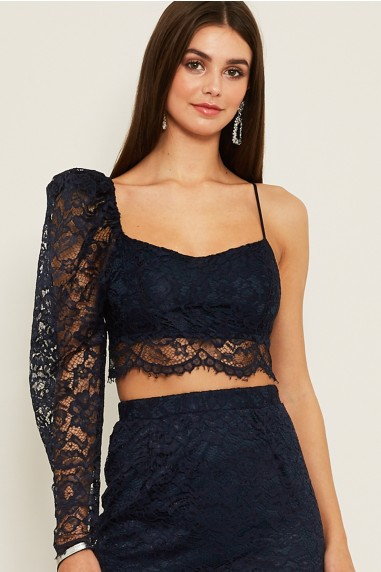 TFNC Lehna Lace Navy Crop Top