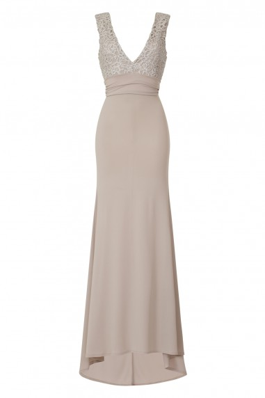 TFNC Centurion Grey Maxi Embellished Dress
