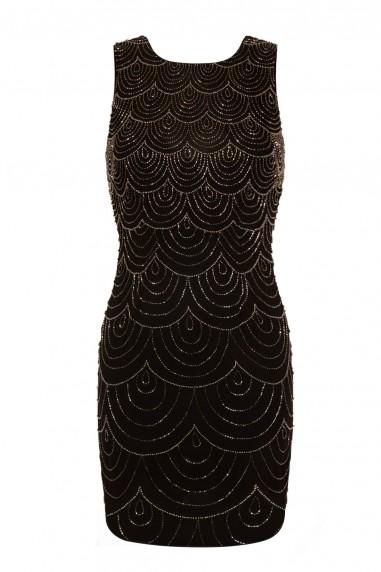 Lace & Beads Kathleen Embellished Black Mini Dress