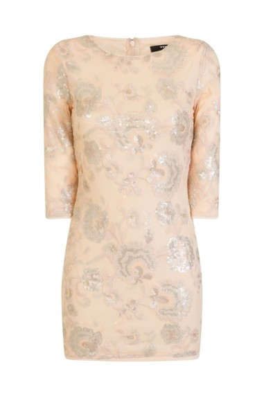 TFNC Paris Floral Nude Sequin Dress