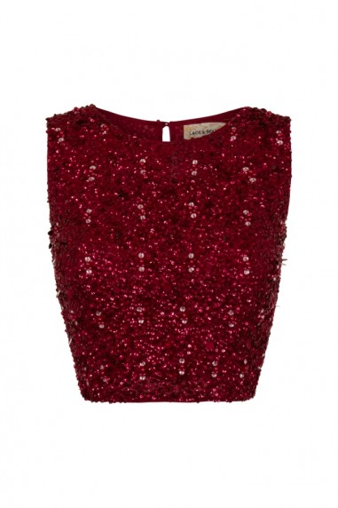 Lace & Beads Picasso Burgundy Sequin Top
