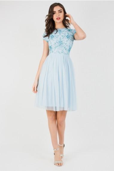 Lace & Beads Nemesis Sky Blue Mini Dress