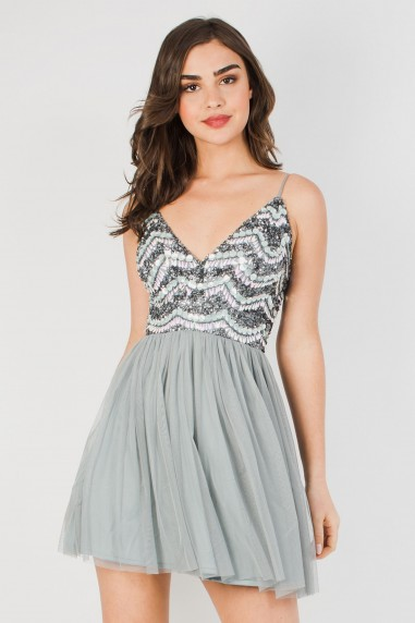 Lace & Beads Amika Grey Mini Dress