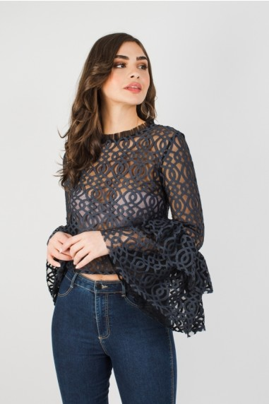 Lace & Beads Lunette Black Top