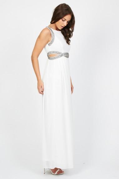 TFNC Malaga White Maxi Embellished Cut Out Dress
