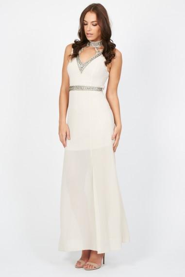 Lace & Beads Rubin Beige Maxi Dress