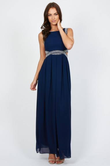TFNC Malaga Navy Maxi Embellished Cut Out Dress