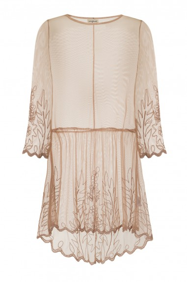 Lace & Beads Sada Sheer Taupe Dress