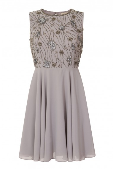 Lace & Beads Wanda Skater Grey Embellished Dress