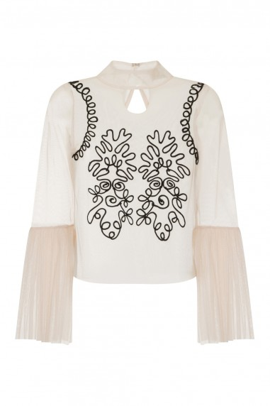 Lace & Beads Dilhara Nude Sheer Top