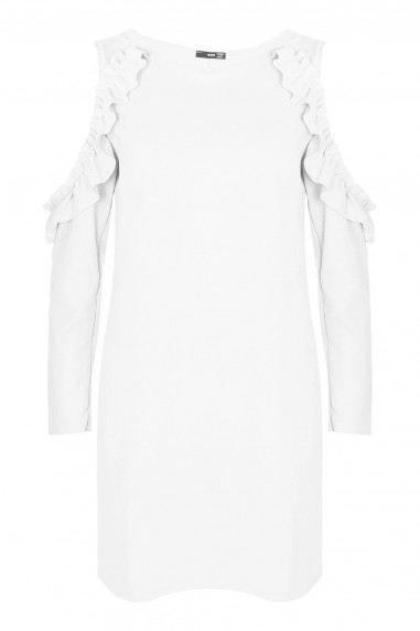 WalG Ruffle Trim Cream Shift Dress