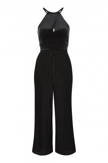 TFNC Bethina Black Velvet Jumpsuit