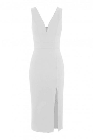 WalG Deep V Midi White Dress