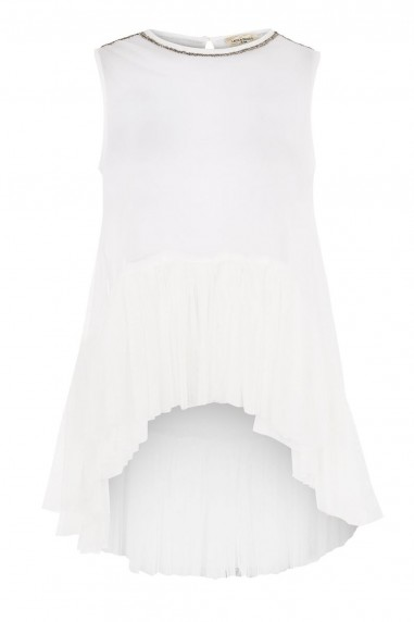 Lace & Beads Flamingo White Sheer Top
