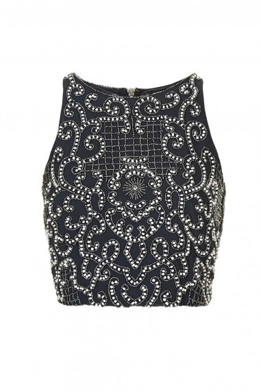 Lace & Beads Penny Navy Top