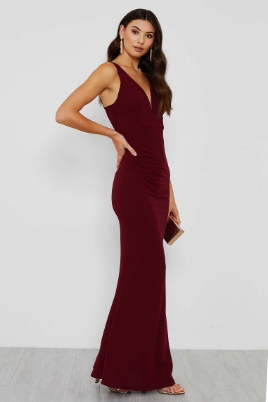 WalG Ruched V Neck Maxi Dress