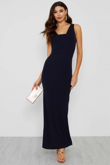 Ava Elegant Evening Square Neck Navy Maxi