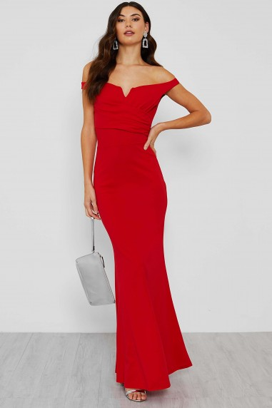 WalG Off Shoulder Red Maxi Dress