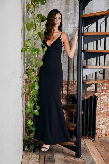 WalG Madelyn Thread Embellished Black Maxi Dress