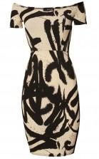 TFNC Jane Beige Graffiti Off Shoulder Midi Dress