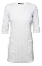TFNC Frida White Textured Dress