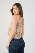 Lace & Beads Anis Cream Sequin Top