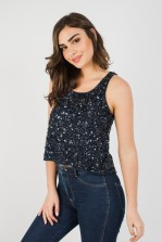 Lace & Beads Anis Navy Sequin Top