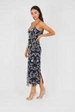 Lace & Beads Fiona Embellished Navy Midi Dress