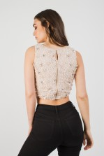 Lace & Beads Gracie Nude Sequin Top