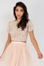 Lace & Beads Julianna Embellished Nude Top
