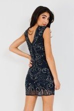 Lace & Beads Austin Navy Embellished Mini Dress