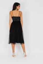 Lace & Beads Irina Embellished Black Midi Dress