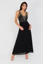 Lace & Beads Regina Black Maxi Dress