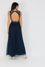 Lace & Beads Boudouir Navy Maxi Dress