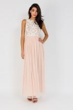 Lace & Beads Celine Nude Maxi Dress