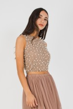 Lace & Beads Merlin Taupe Sequin Top