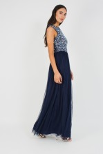 Lace & Beads Picasso Midnight Blue Maxi Dress