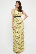 TFNC Minli Yellow Polka Dot Maxi Dress