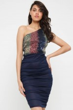 TFNC Ninou Sequin Navy Midi Dress