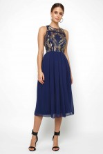 Lace & Beads Viva Embellished Navy Midi Dress
