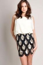 TFNC Lila Sequin Skirt Dress