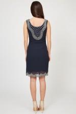 Lace & Beads Soft Navy Embellished Dress