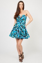 TFNC Geri Black Floral Bandeau Dress
