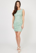 Lace & Beads Star Green Embellished Dress